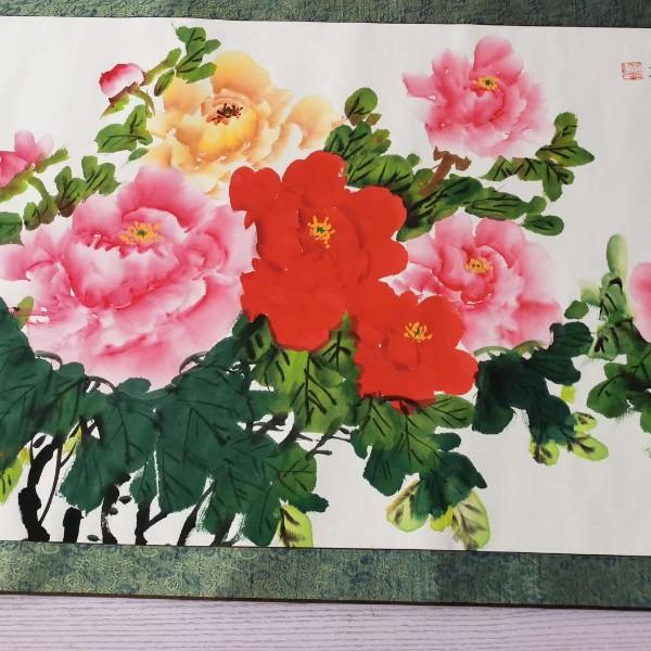 牡丹横幅装裱轴4尺秦玉军作品
